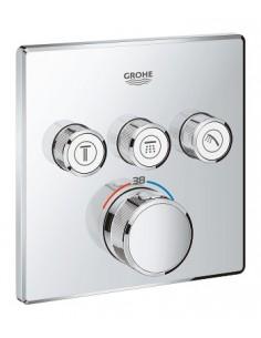 SmartControl kvadratna termostatska armatura za tuš s tremi izlivi - pokrivna plošča