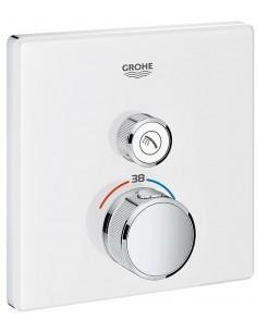 SmartControl kvadratna termostatska armatura za tuš z enim izlivom - steklena pokrivna plošča