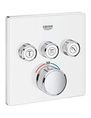 SmartControl kvadratna termostatska armatura za tuš s tremi izlivi - steklena pokrivna plošča