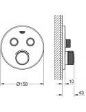 SmartControl okrogla termostatska armatura za tuš z dvema izlivoma - pokrivna plošča