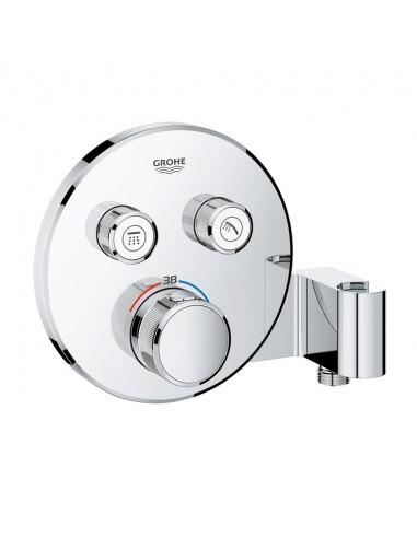 SmartControl okrogla termostatska armatura za tuš z dvema izlivoma in držalom- pokrivna plošča