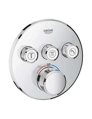 SmartControl okrogla termostatska armatura za tuš s tremi izlivi - pokrivna plošča