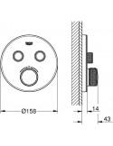 SmartControl okrogla termostatska armatura za tuš z dvema izlivoma - steklena pokrivna plošča