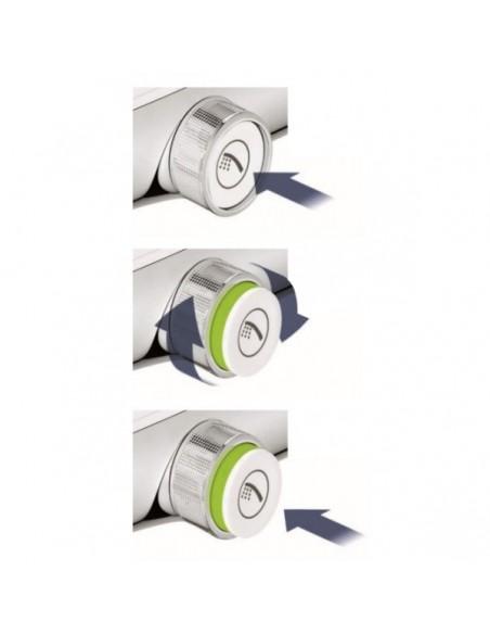 SmartControl okrogla termostatska armatura za tuš s tremi izlivi - steklena pokrivna plošča