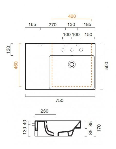 Umivalnik Catalano NEW ZERO 75-150 s polico