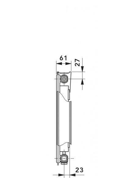 11 T6 Radiator s sredinskim priključkom