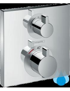 Ecostat Square podometna termostatska armatura za tuš Hansgrohe z dvema izlivoma - kvadratna pokrivna plošča